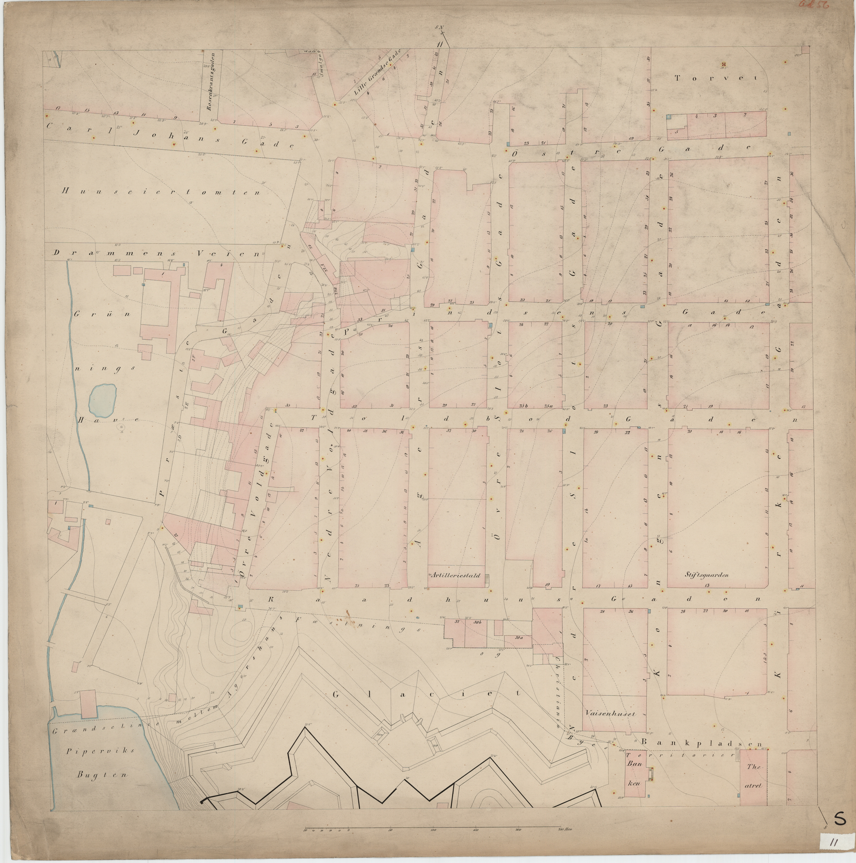Kartet av I.W.G. Næser fra 1860 viser området før byggingen var begynt.