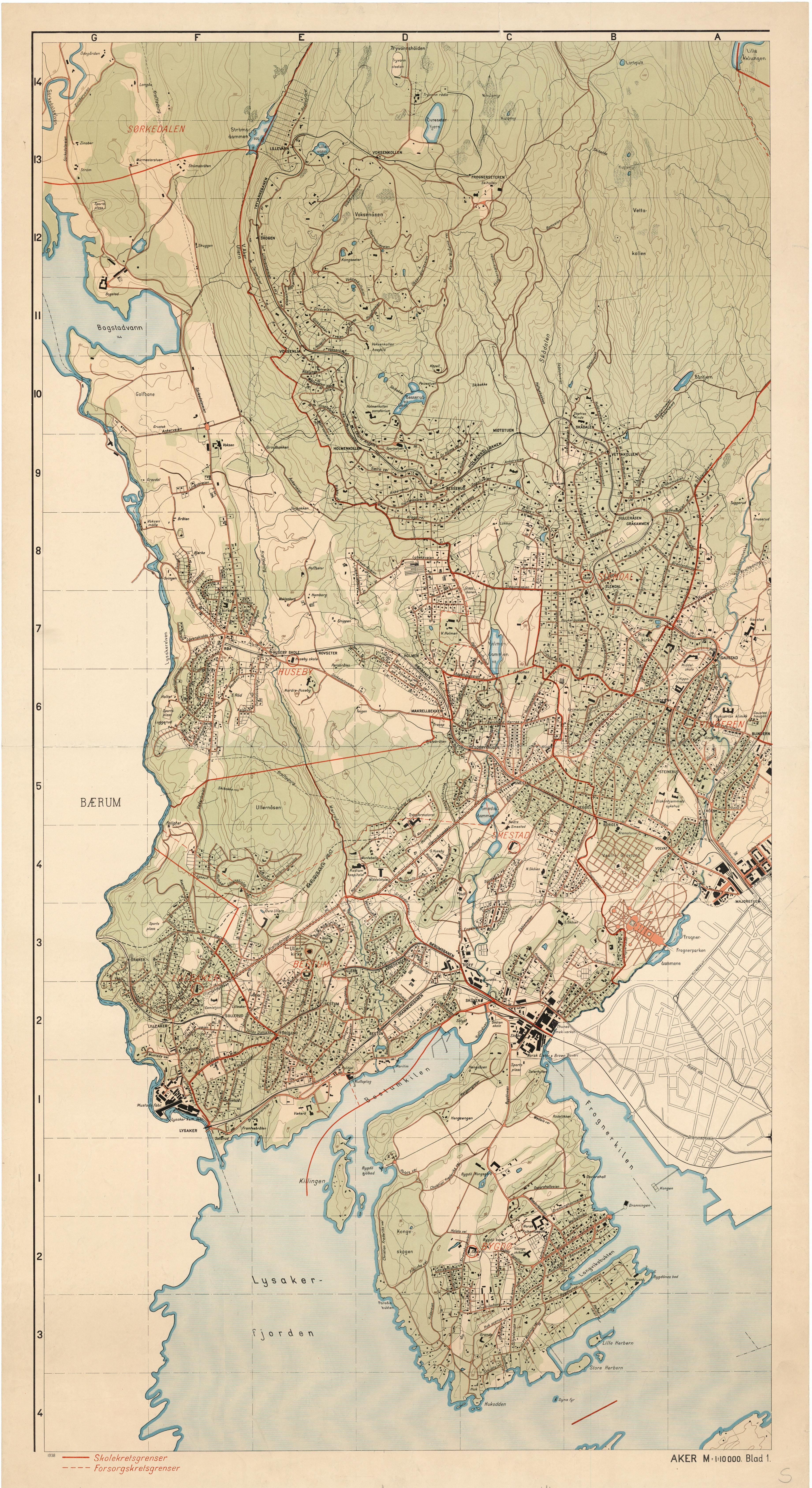 oslo byarkiv kart Kart over Aker 1938   Byarkivet   Oslo kommune oslo byarkiv kart