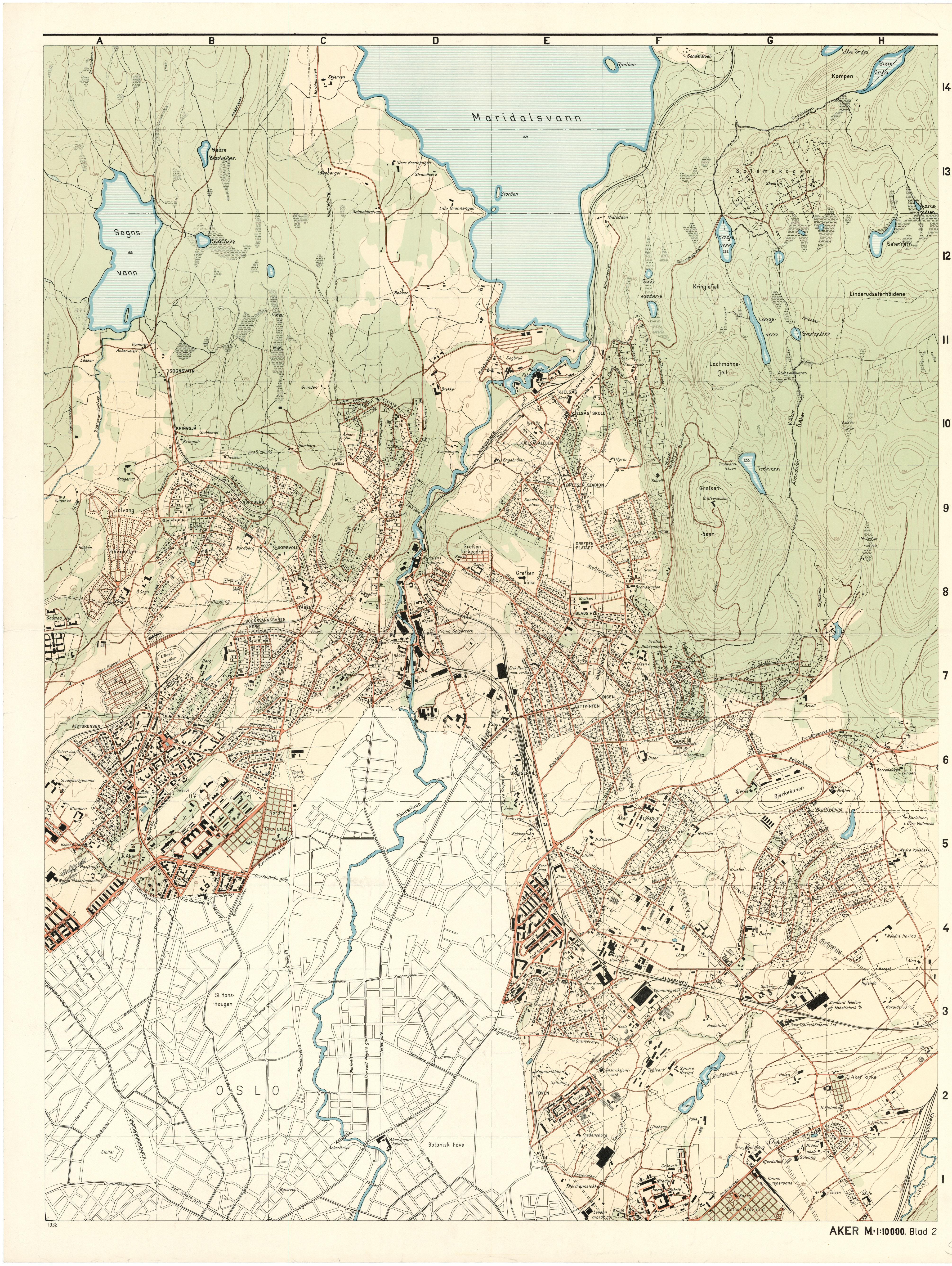Utsnitt av kart over Aker fra 1938. Her ser man at sportsplassen, eller Voldsløkka, lå akkurat på grensen mellom daværende Oslo og Aker. Oslo byarkiv.