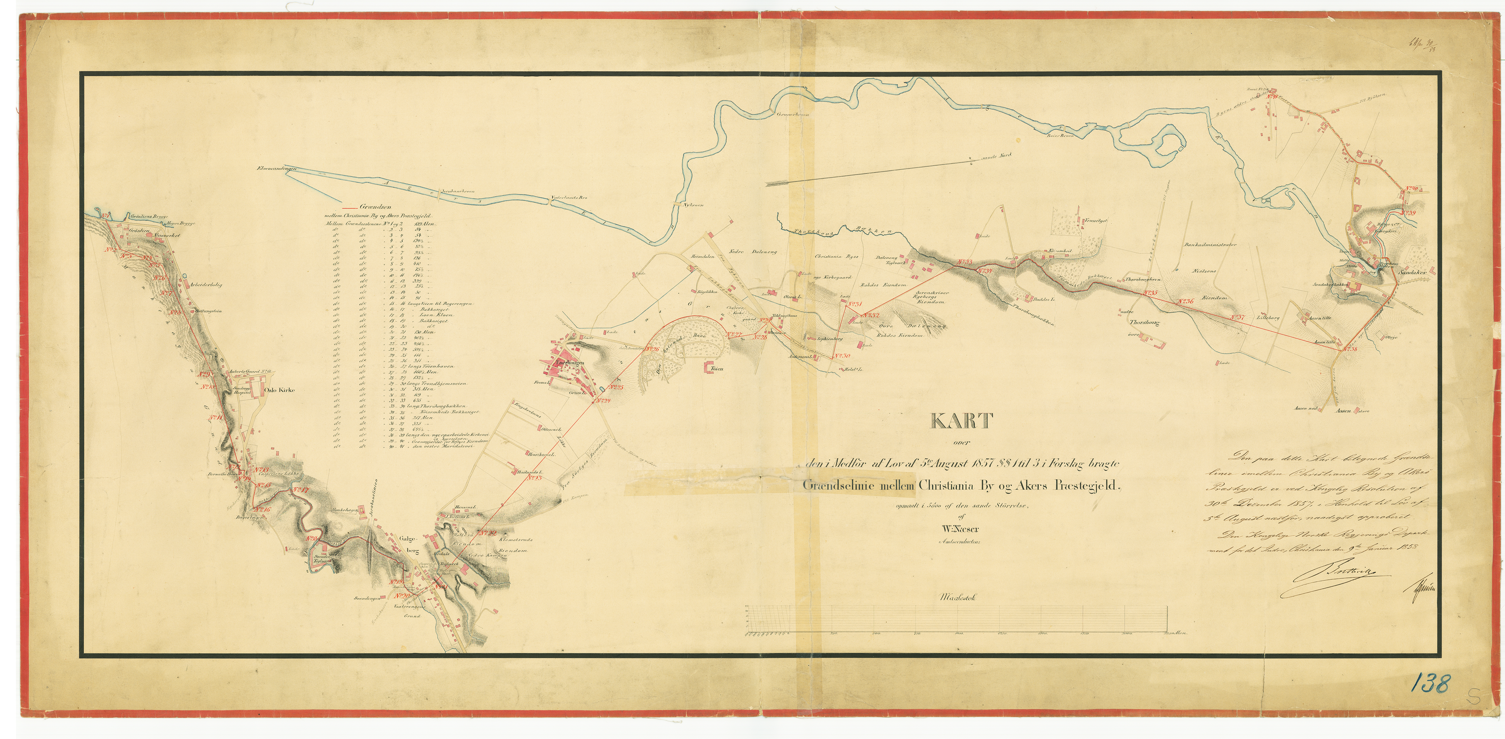 Kartet viser ny grense mellom Christiania og Aker, vedtatt ved lov av 5. august 1857, og gjeldende fra 1. januar 1859. Fra arkivet etter Plan- og bygningsetaten.