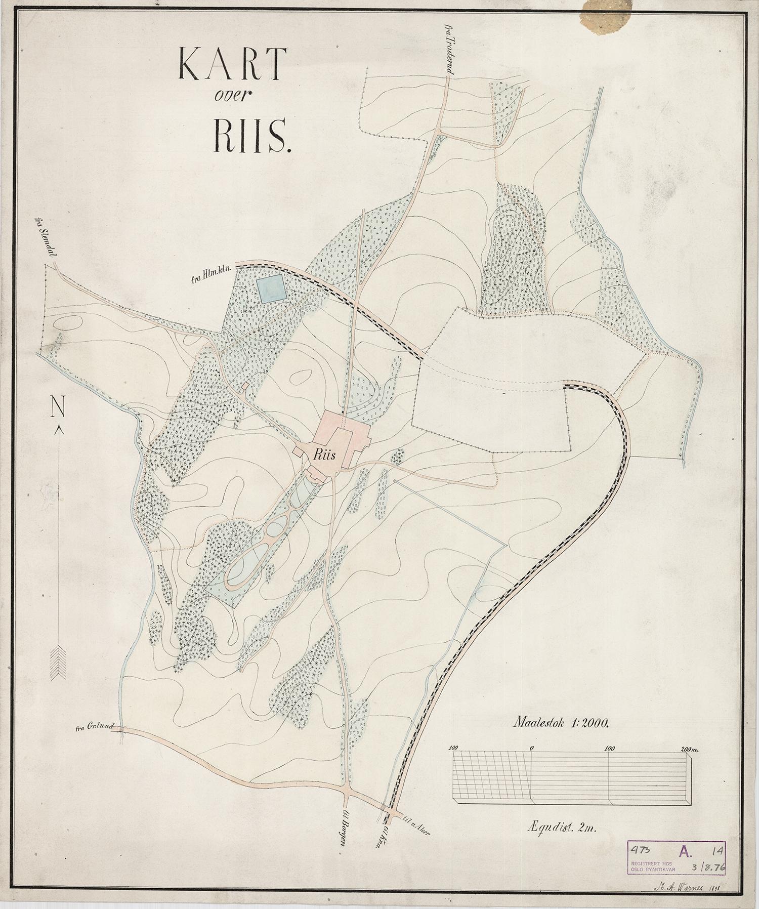 Kart over Ris gård fra 1898.