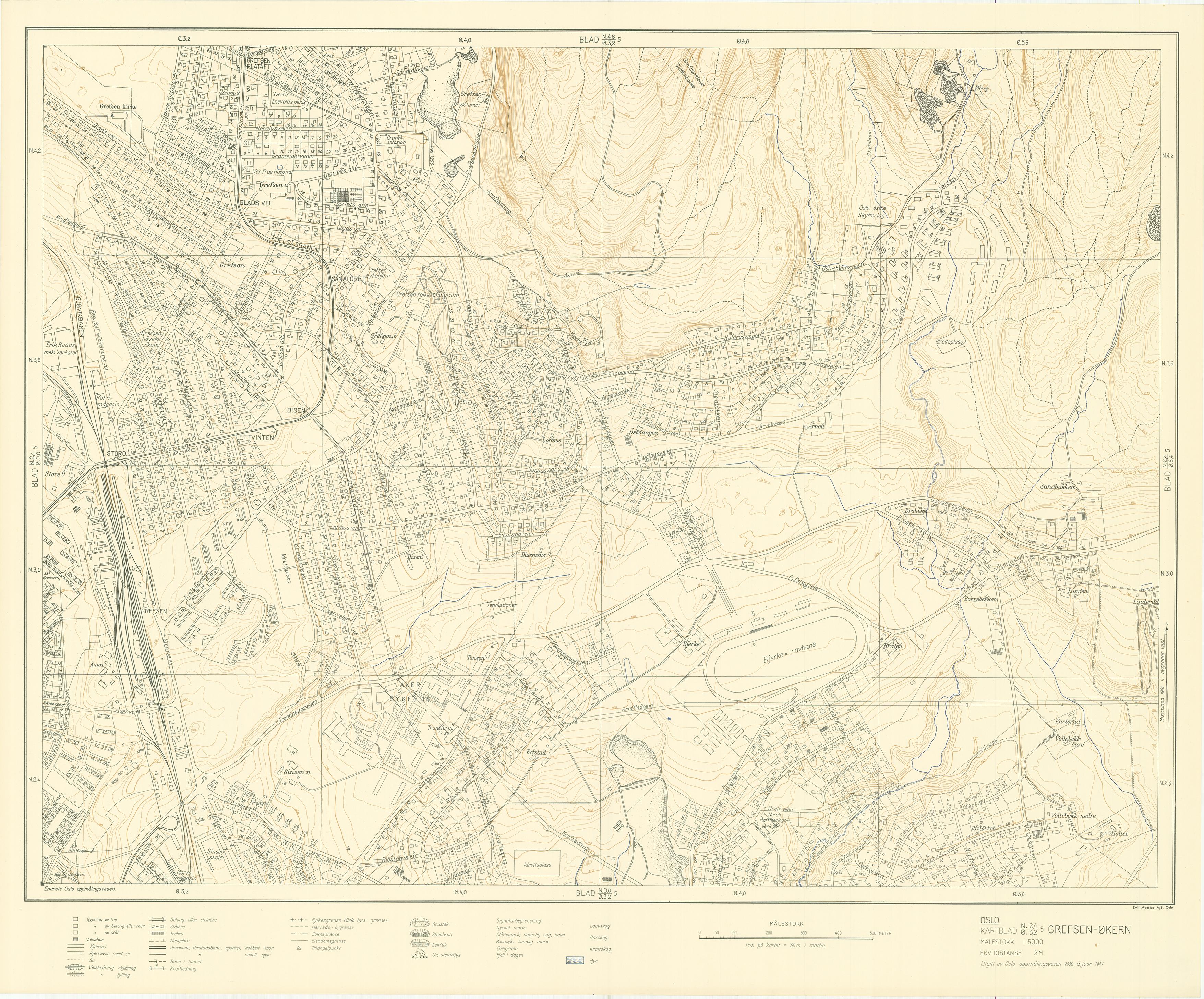 kart økern Oslokart 1:5000 1942 1982 kart økern