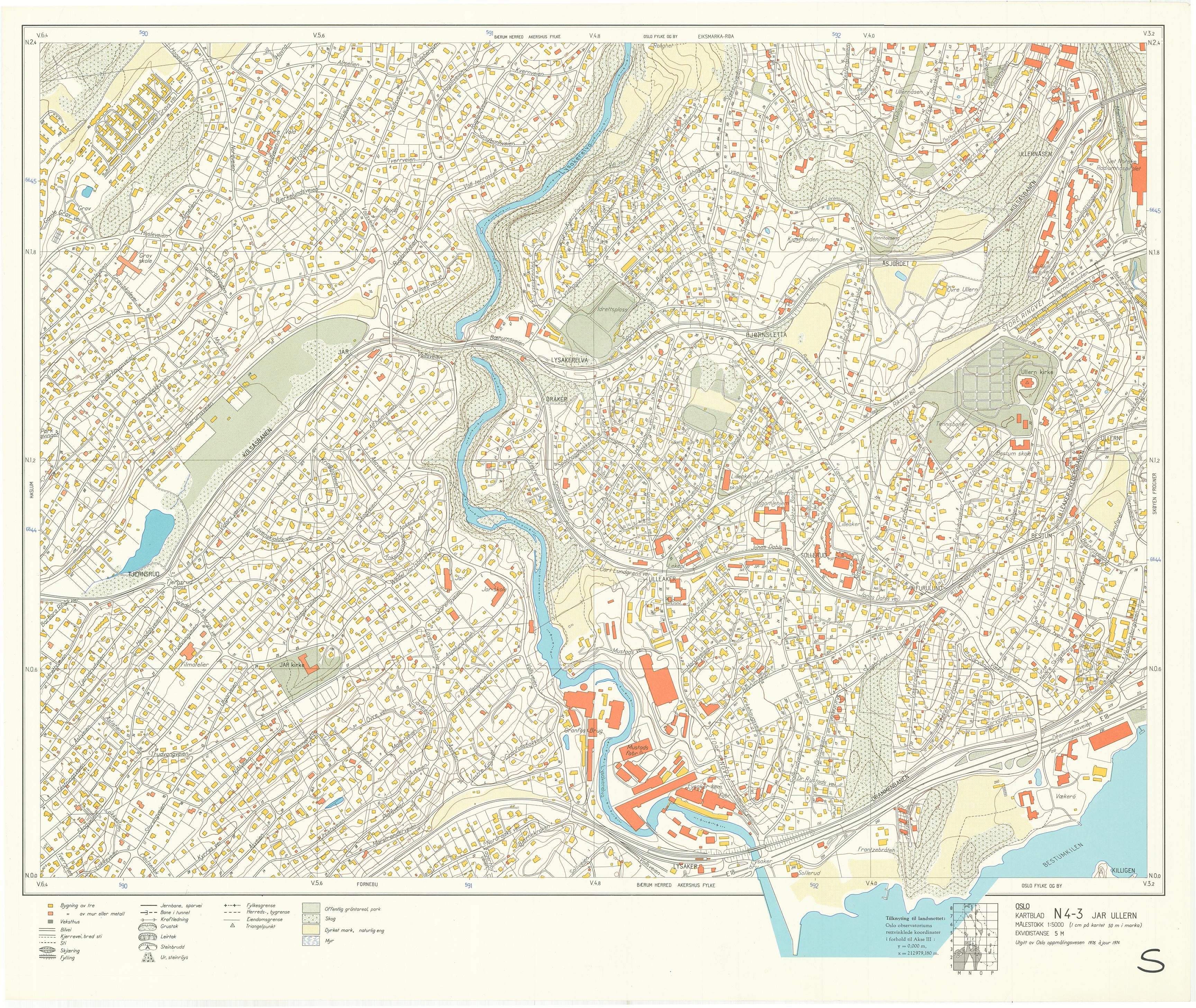 lilleaker kart Oslokart 1:5000 1942 1982 lilleaker kart