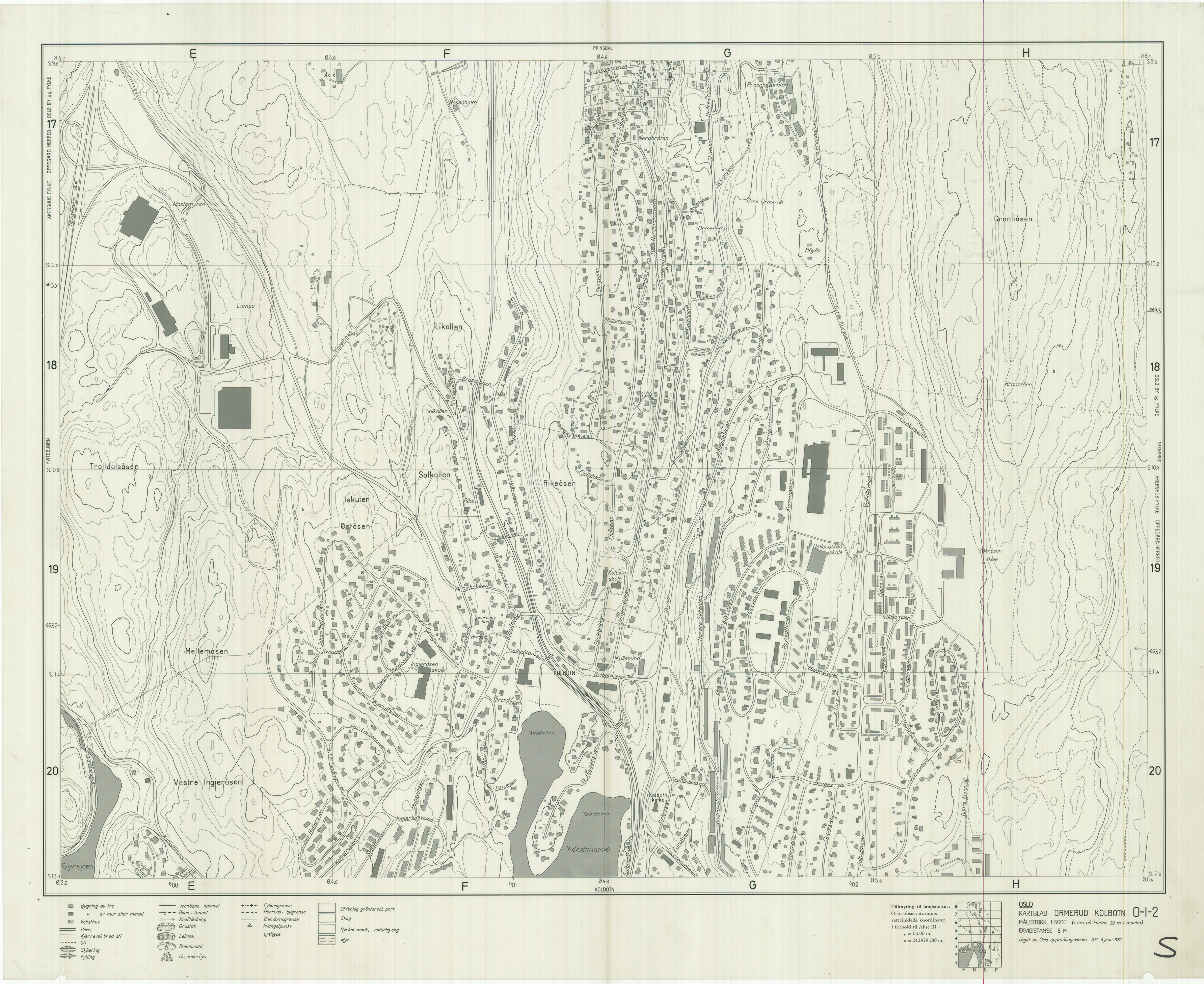 kolbotn oslo kart Oslokart 1:5000 1942 1982 kolbotn oslo kart