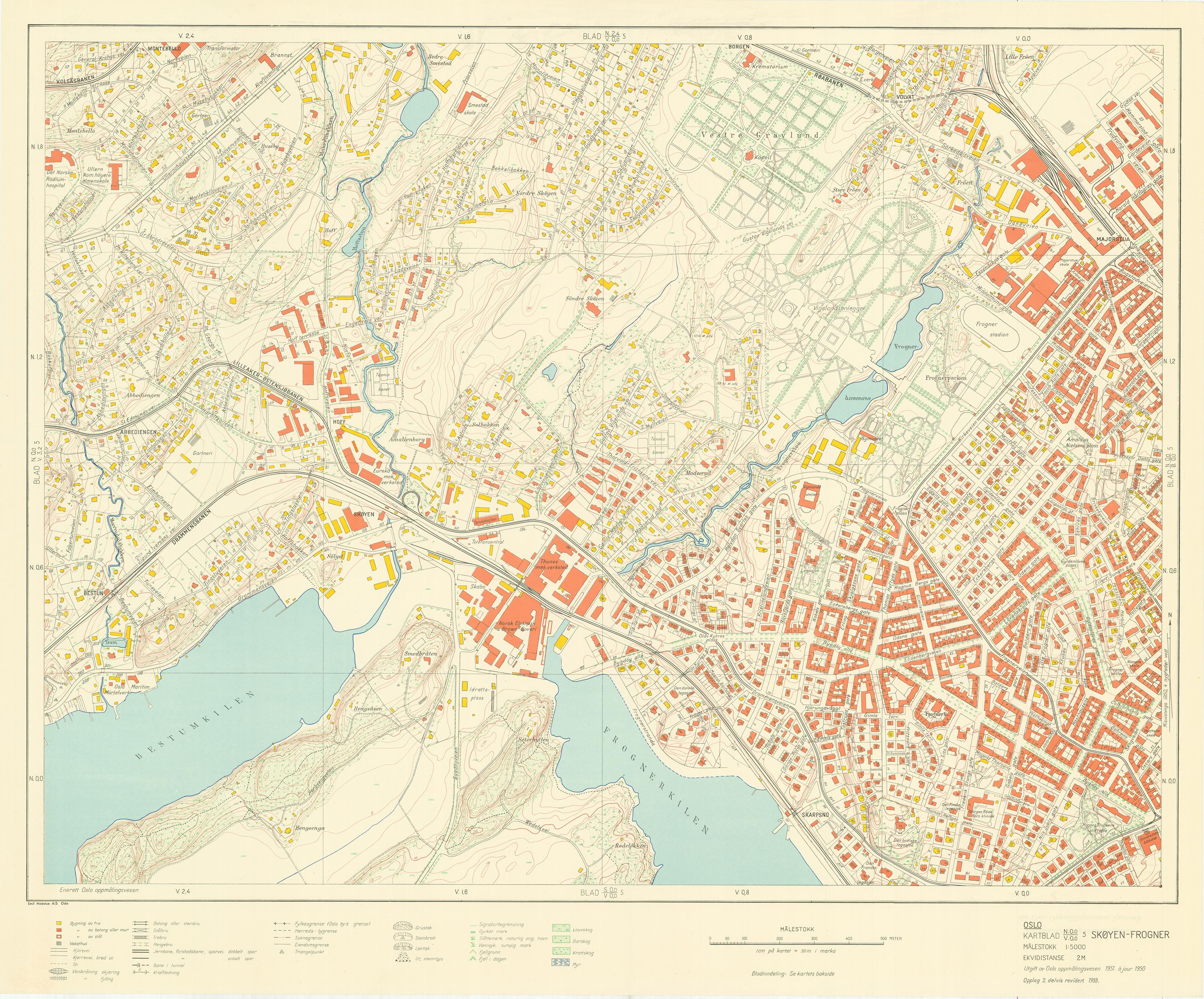 kart skøyen oslo Oslokart 1:5000 1942 1982 kart skøyen oslo