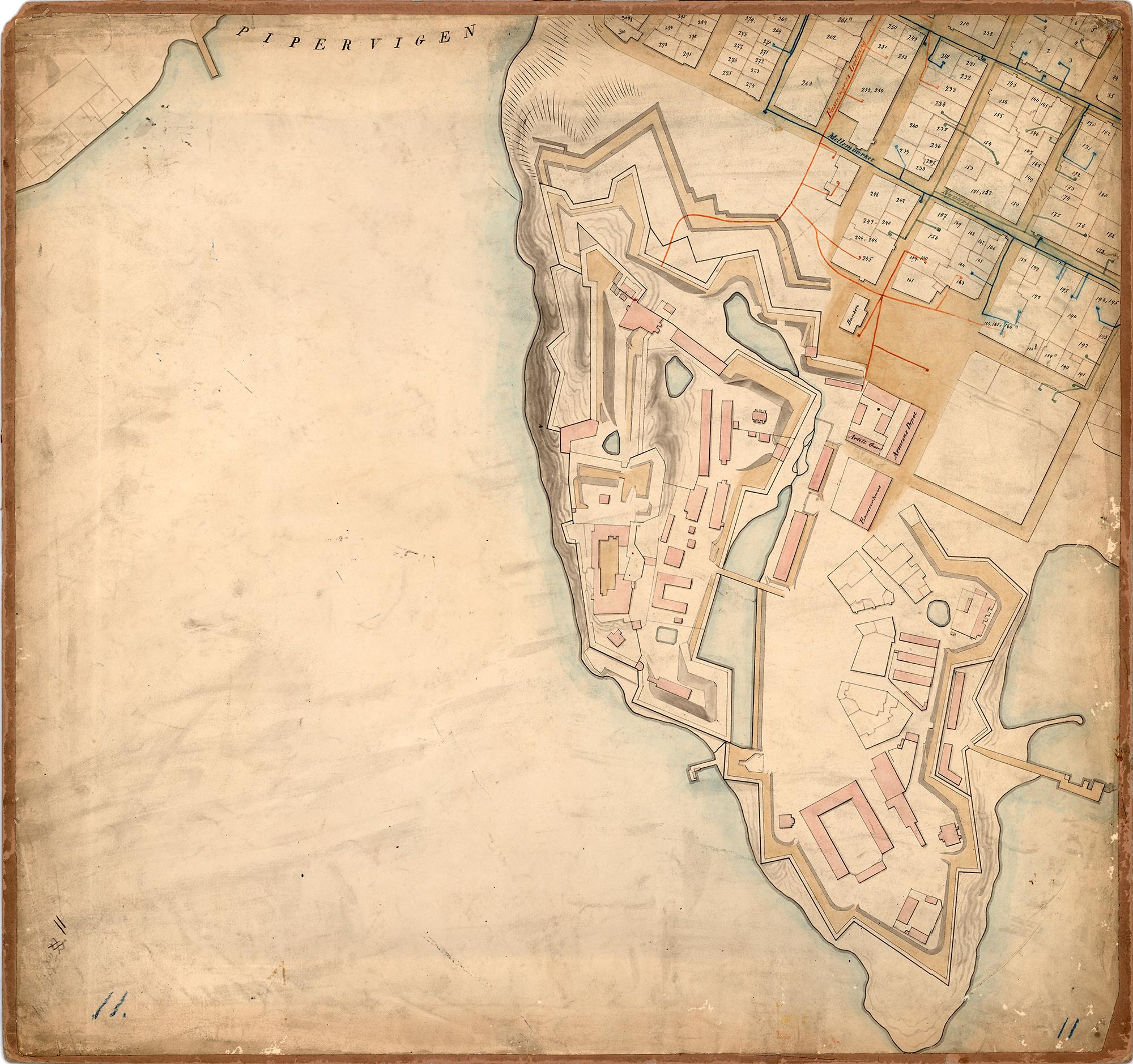 Én av kartplatene som utgjør Grosch' generalkart over Christiania fra 1820/1830-tallet. Eiendomsgrensene hadde ikke endret seg så mye siden 1737. I de kommende tiårene ville imidlertid mye endre seg. Eiendommer ble slått sammen og små, gamle bygårder ble erstattet nye, store mursteinsbygninger.