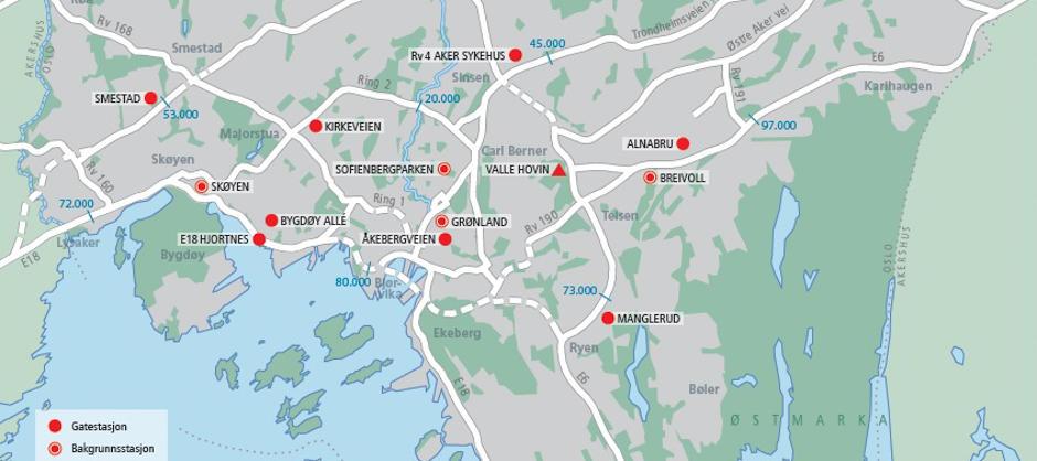 Oslo kommune og Statens vegvesen måler luftkvaliteten på disse 12 målestasjonene.
