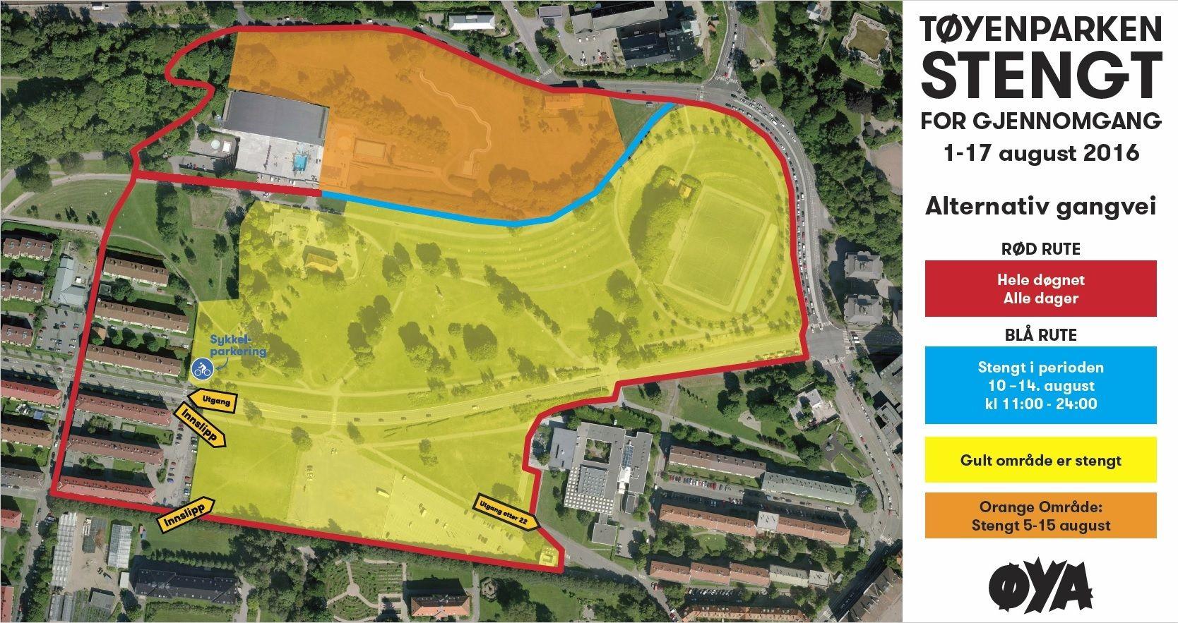 Stengte områder og alternative gangveier Tøyenparken 1.–17. august