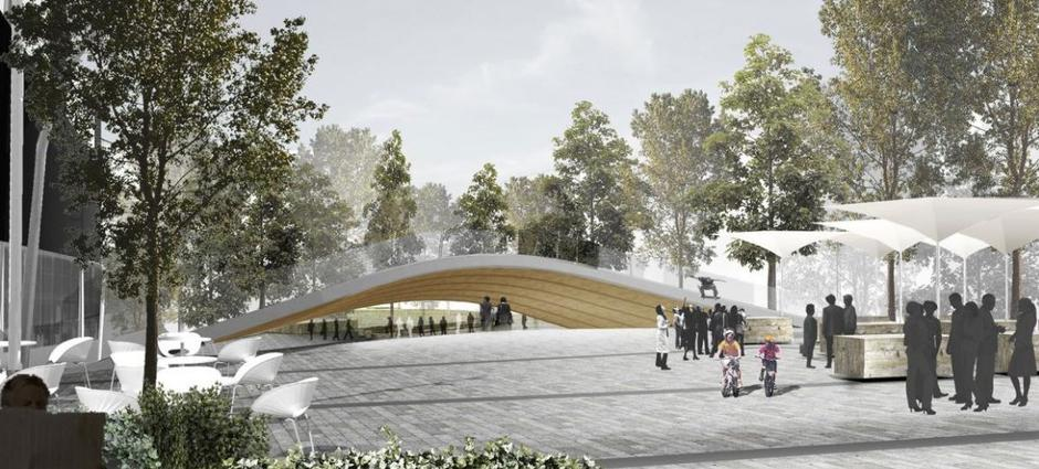 «Flying carpet» viser Trygve Lies plass med et «flyvende teppe» midt på plassen.
