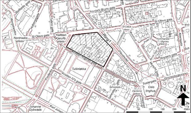 Kart over aktuelt område på Tullinløkka