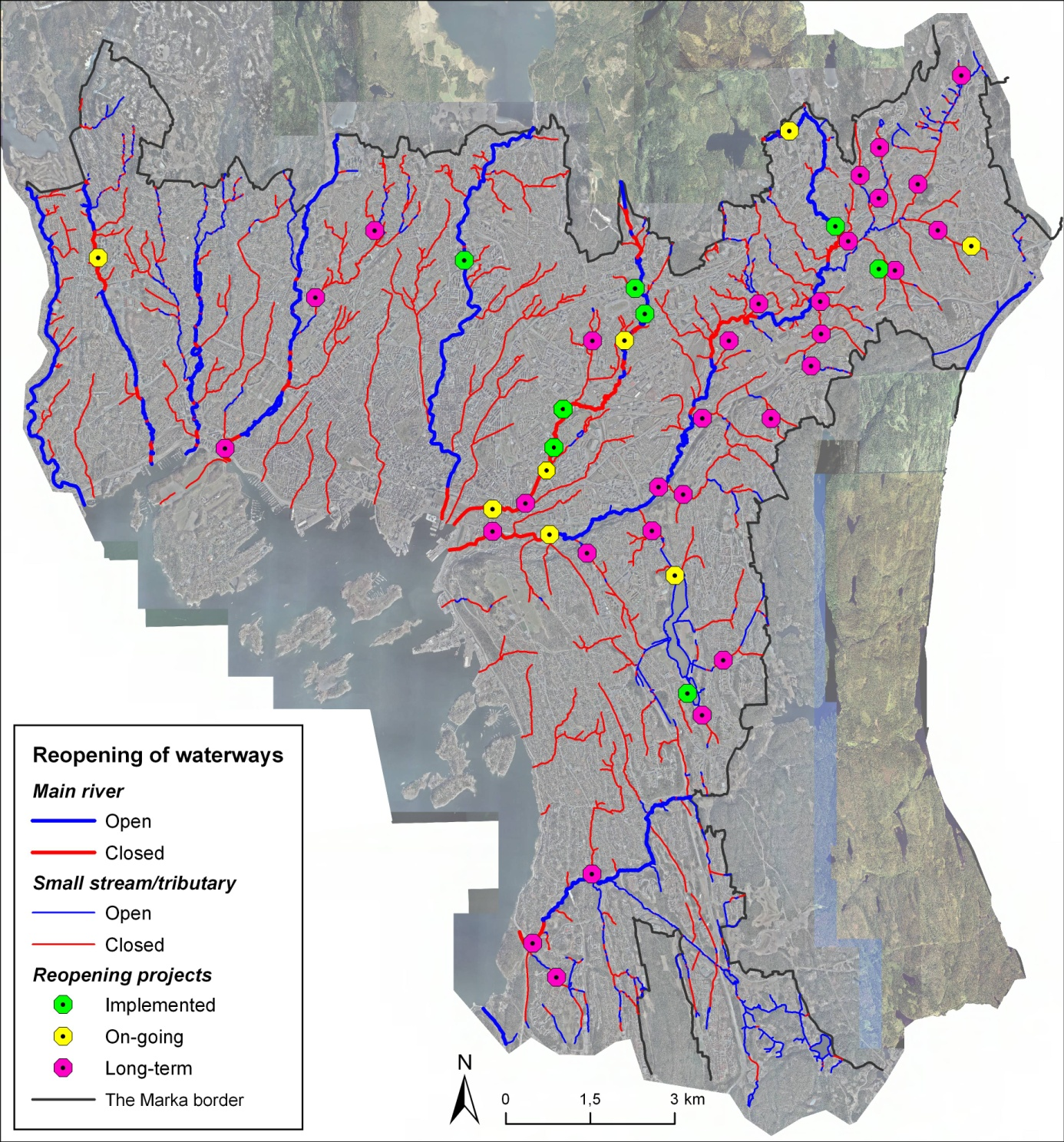 Figure 1: The map illustrates open and closed rivers and streams with tributaries in Oslo's urban zone today, as well as implemented, on-going and planned long-term reopening projects.
