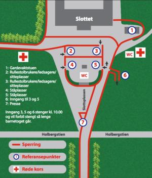 Skisse over innganger og utganger på Slottsplassen