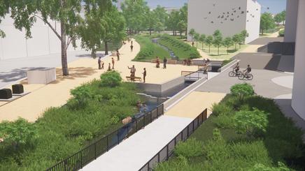 Arbeidsmodell av Klosterenga Park, laget av Dronninga Landskap AS. Modellen viser hvordan det nå jobbes med å ferdigstille parken.