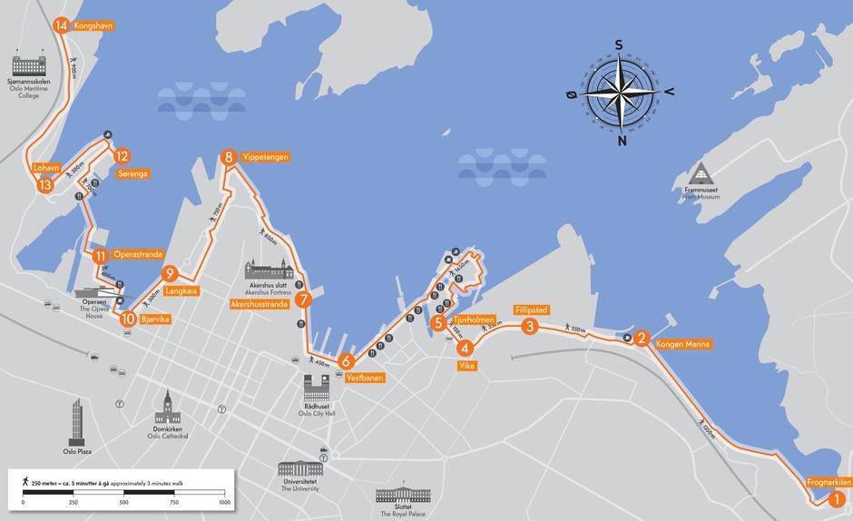 Oversikt over Havnepromenaden med informasjonspunkter