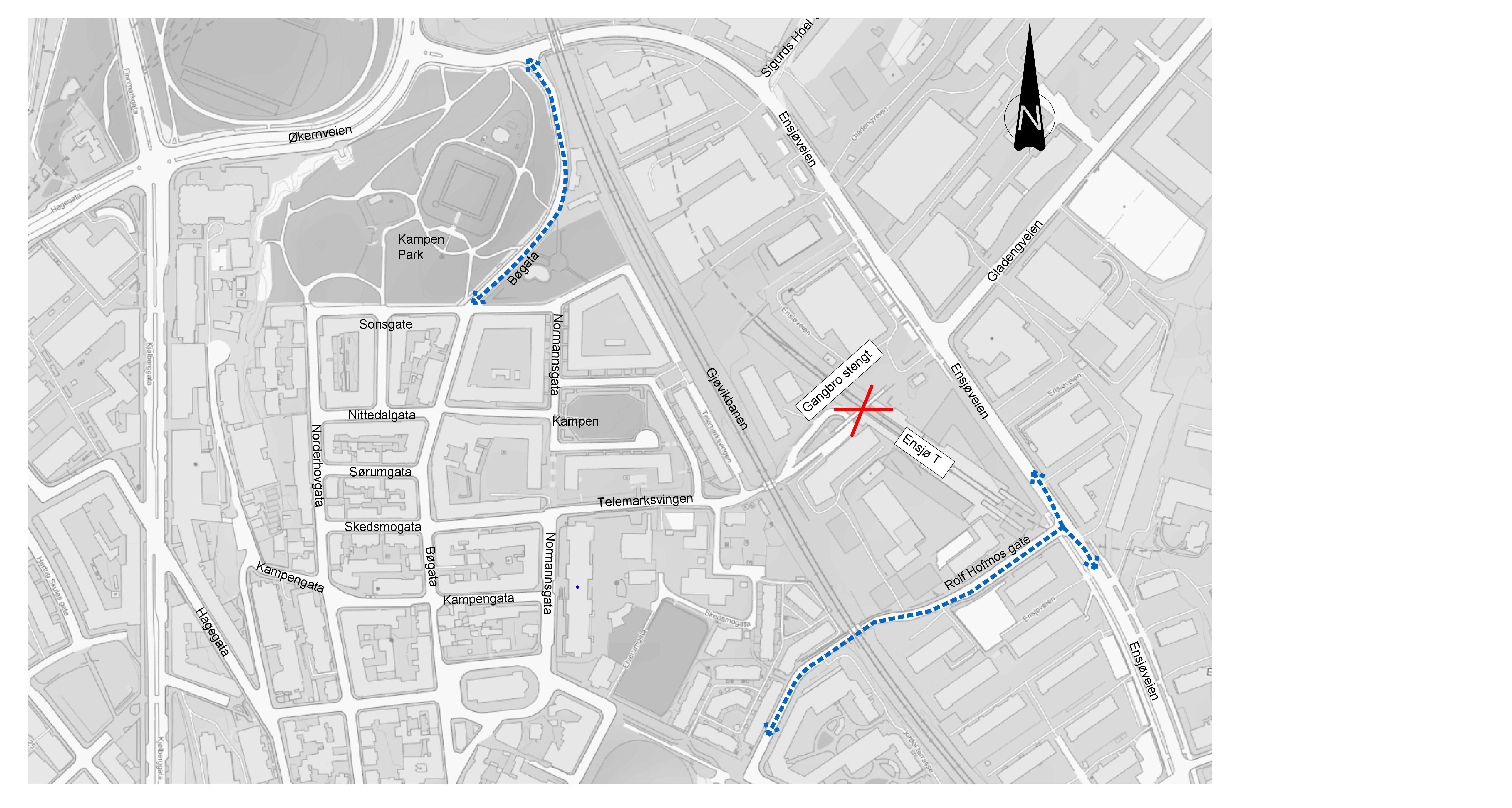 Kart som viser alternative gangveier fra Ensjø til Kampen/Jordal
