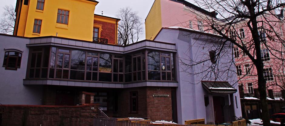 Barnehagens fasade sett fra Oscarsgate