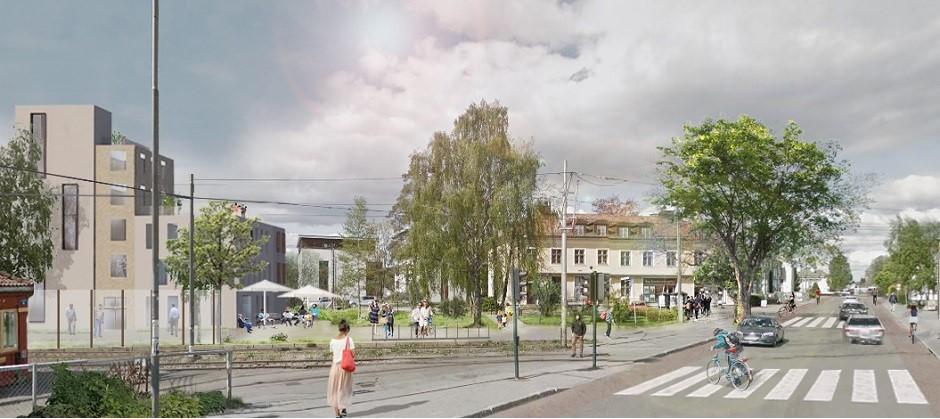 EBY har utarbeidet en plan for sentrum av Holtet. Her ses Kongsveien.
