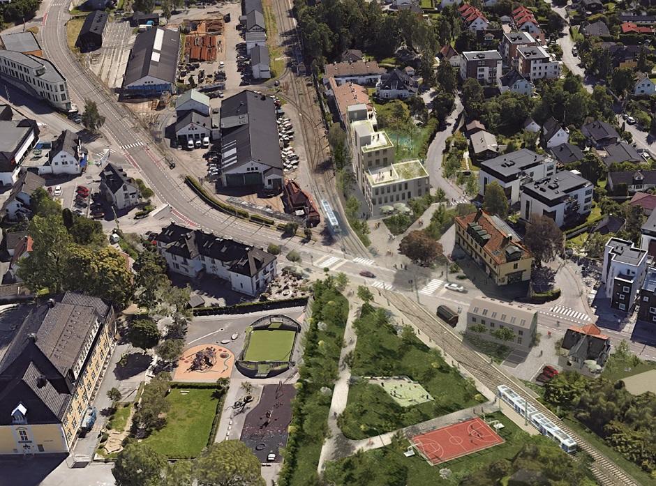 Oversiktbilde av Holtet stasjonsområde