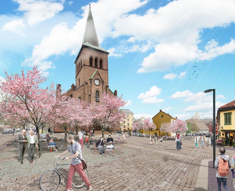 Illustrasjon av bilfri Thorbjørn Egners plass, foran Kampen kirke.