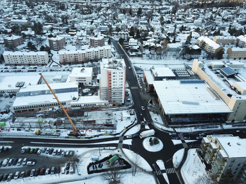 Flyfoto av Lambertseter sentrum