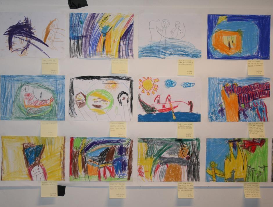 Barnas tegninger fra historiene om norrøn mytologi