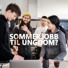 """Illustrasjonsfoto av ungdom på jobb med teksten """"Sommerjobb til ungdom?"""""""
