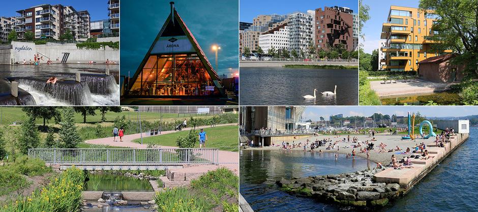 Kollasje av ulike nye byggeprosjekter i Oslo. Salt, Sørenga, Barcode, Hovinbekken og Nydalen.