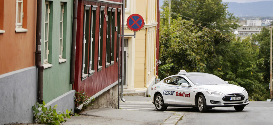 En elektrisk taxi i Oslo.