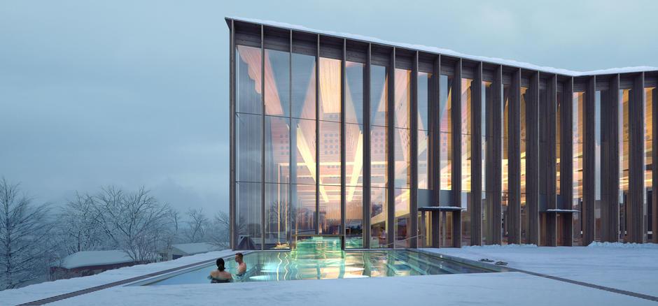 Illustrasjon av utebassenget på det nye tøyenbadet om vinteren. Bygget har vindusnisjer fra bakke til tak.