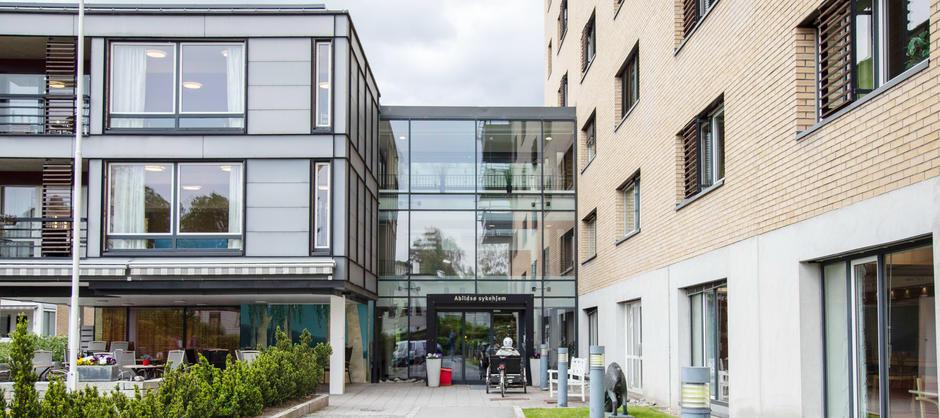 Bilde av inngangspartiet til Abildsø sykehjem
