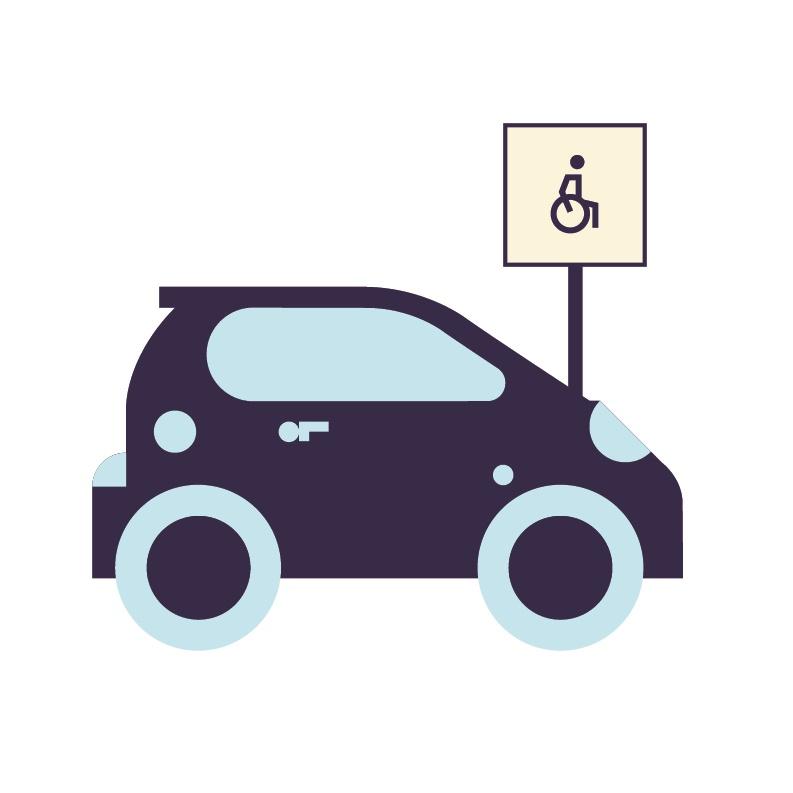 illustrasjon bil med hc-parkering