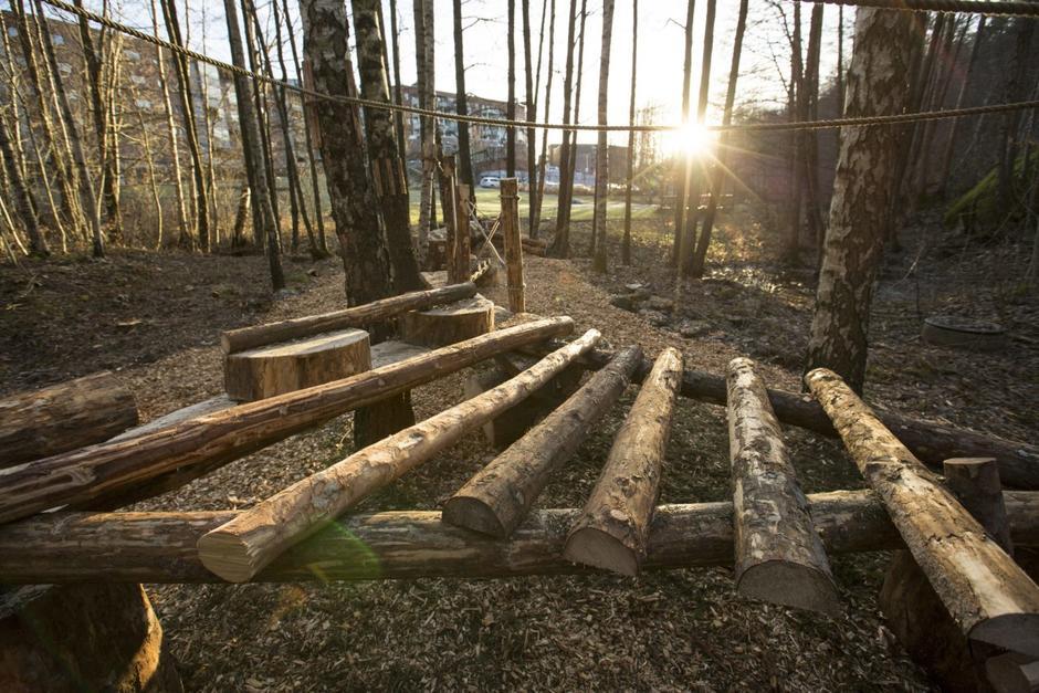 Tømmerstokker for balanseringslek