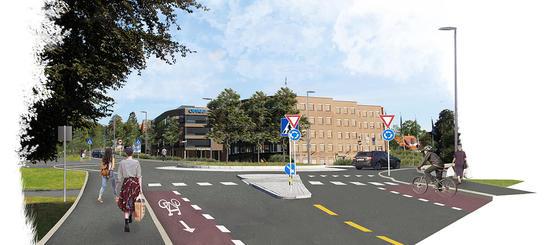 Tegning av tosidig sykkelfelt inn mot rundkjøring i Hoffsveien