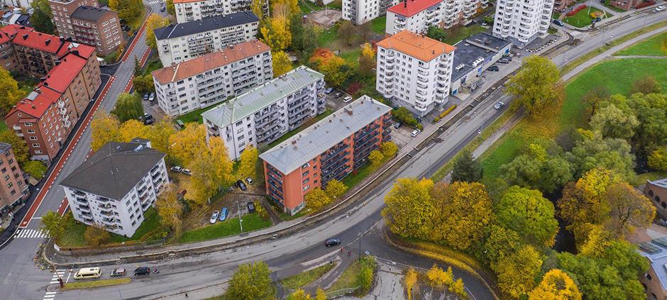 Treschows gate sett fra luften