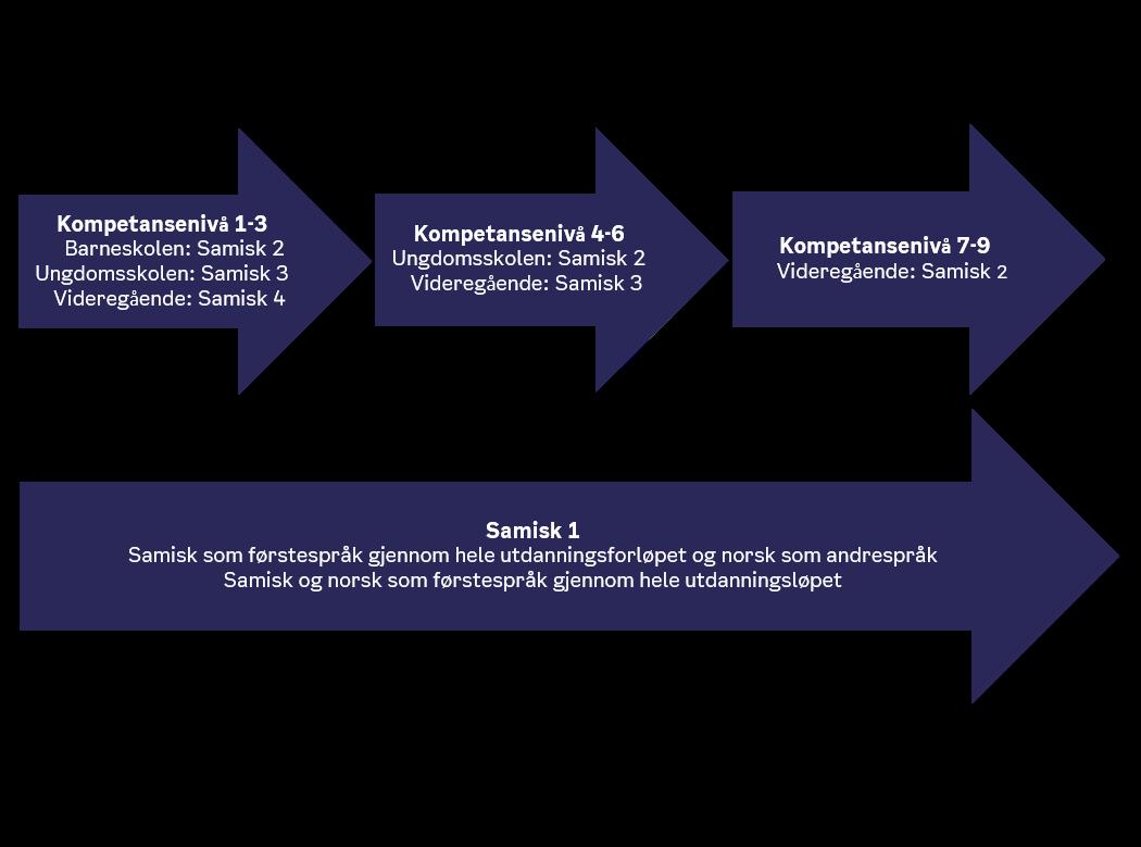 Tegnings om viser oppnådd kompetansenivå i samisk.
