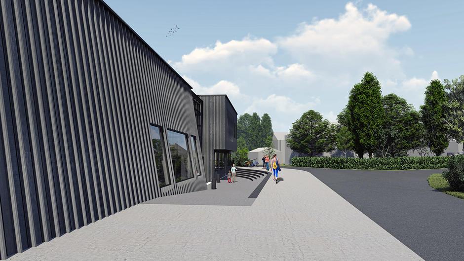 Korsvoll flerbrukshall, forsamlingslokale og barnehage, utvendig bygg mot inngang.