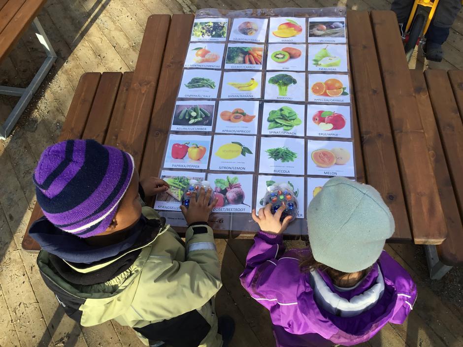 Barn står ute med fruktkart og en liten robot på arket.