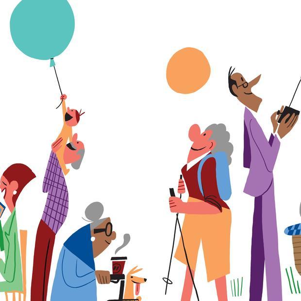 Illustrasjon av aldersvennlig by med mennesker som gjør diverse aktiviteter.