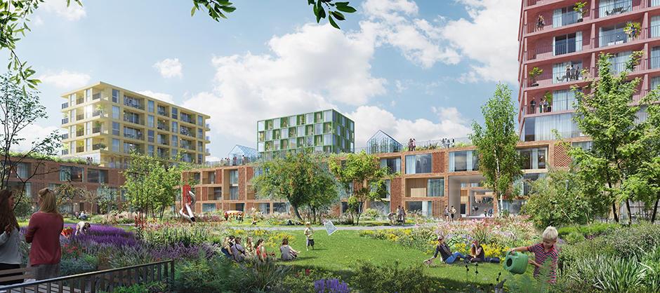 llustrasjon av grøntområder, bygninger og mennesker.