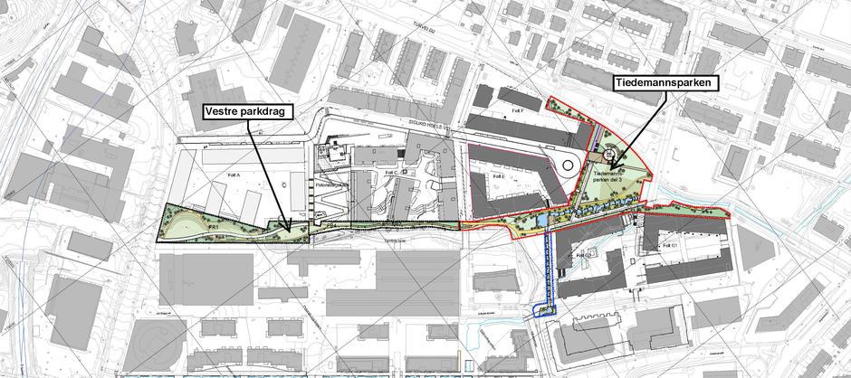 Kartet viser Tiedemannsparken og Vestre parkdrag.