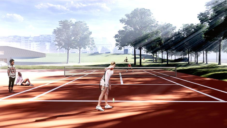 Illustrasjon av Tennisbane med spillere.