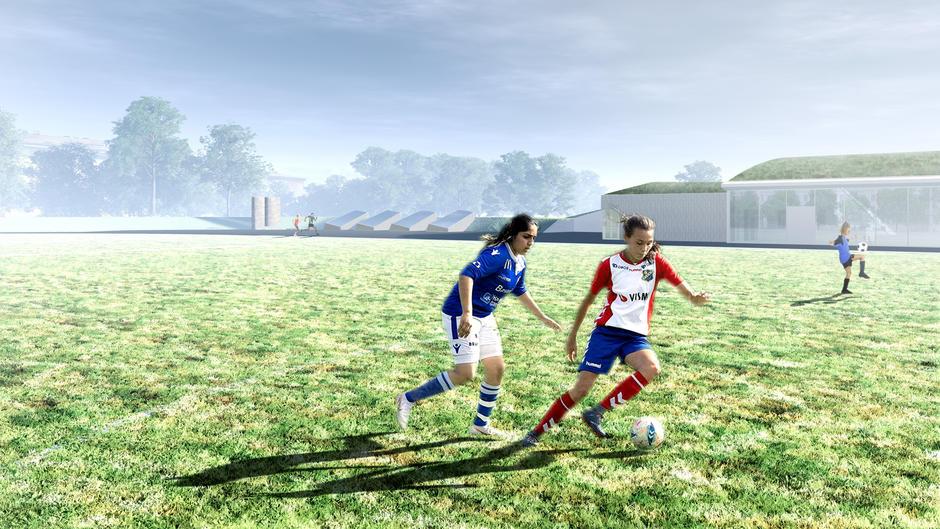Illustrasjon av utvendig fotballbane, to jenter som spiller.