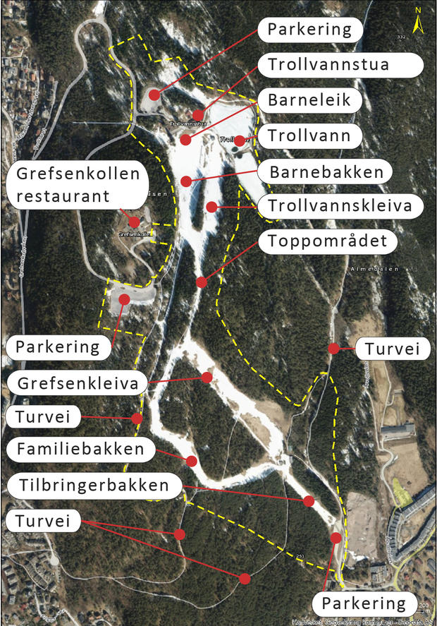 Alpinanlegg Grefsen- og Trollvannskleiva, illustrasjon av dagens situasjon