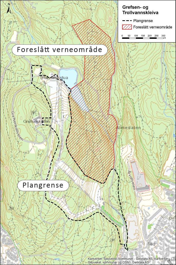 Illustrasjon som viser areal planlagt vernet som friluftslivsområde, og planområdet for alpinanlegget