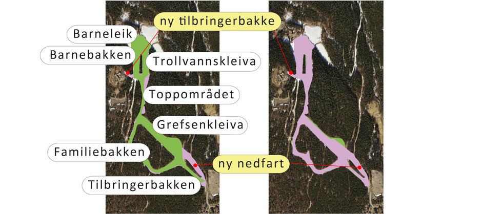 Illustrasjon av dagens løyepkart og planlagt løypekart for Grefsen- og Trollvannskleiva