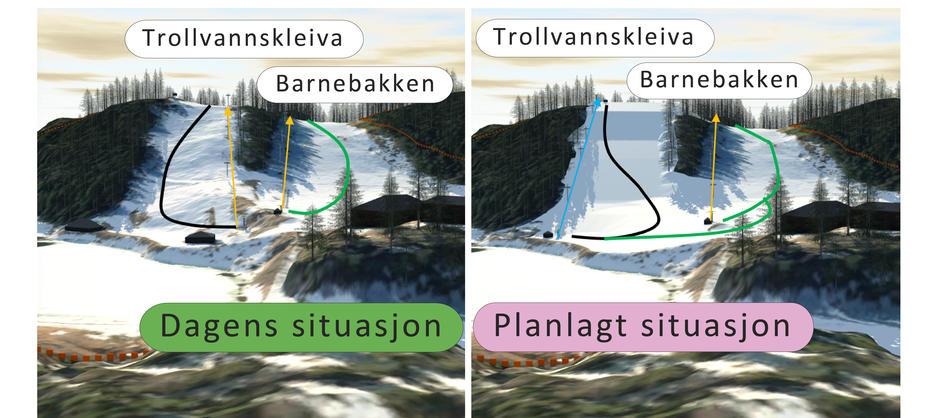 Illustrasjon av Trollvannsiden med dagens situasjon og planlagt situasjon