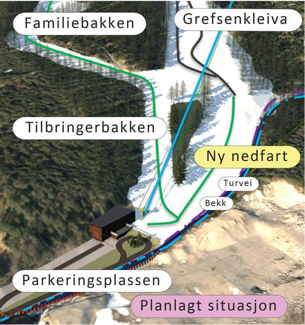 Illustrasjon av planlagte endringer i Grefsenkleiva
