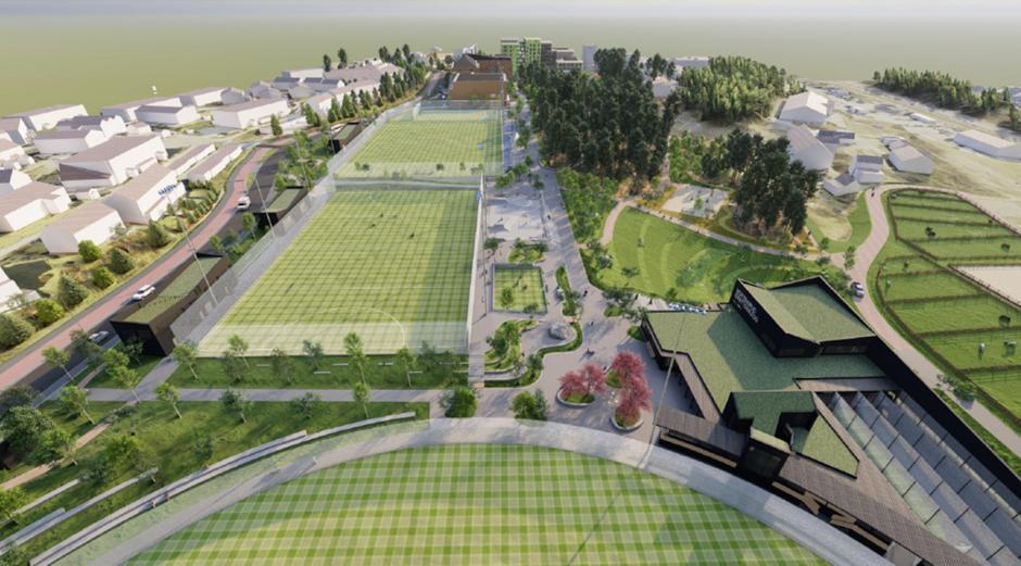 Fotballbaner og parkanlegg