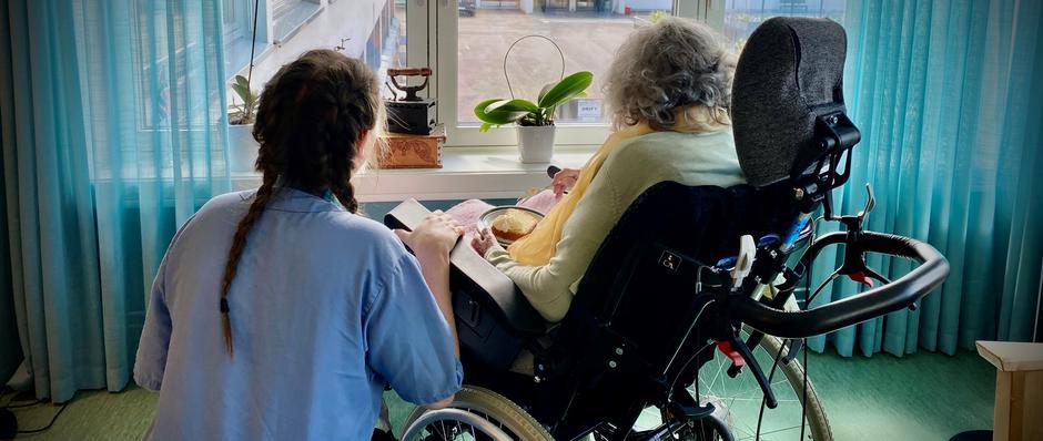 to kvinner ser ut vidu - en ansatt og en eldre beboer i rullestol