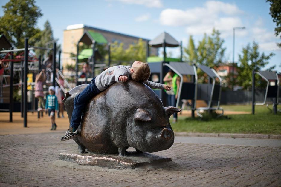 En gutt ligger på ryggen oppå en bronseskulptur av en gris plassert på en lekeplass.